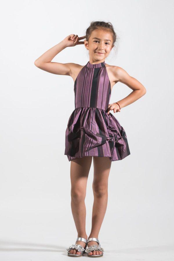 Rochii fete scurtă de ocazie Tafta Naturala Anastasia NOAR Kids