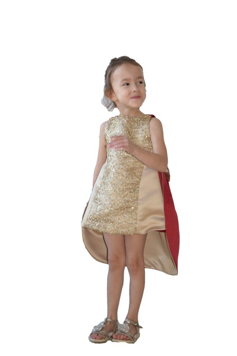 Rochie frac fete de Crăciun Goldie - haine copii Craciun