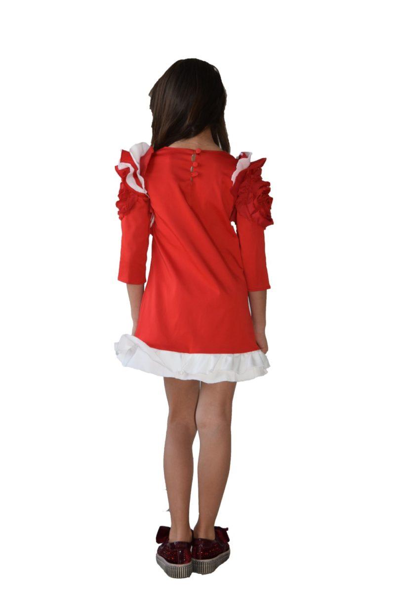 Rochie roșie Christmas Flower - haine copii Craciun - haine online