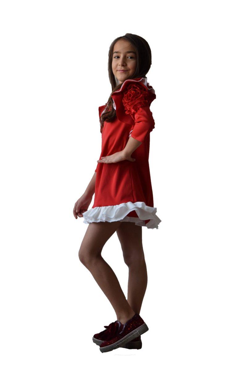Rochie fete roșie Christmas Flower - haine copii Craciun - rochite fete