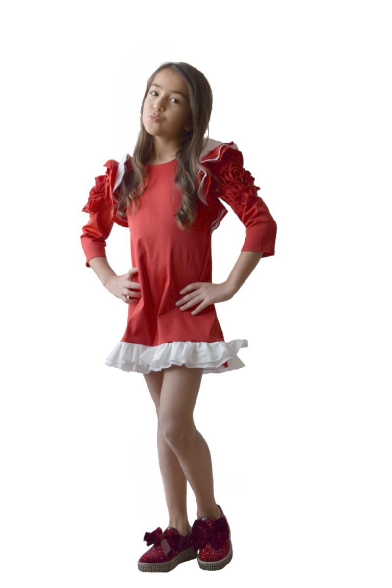 Rochie fete roșie Christmas Flower - haine copii Craciun