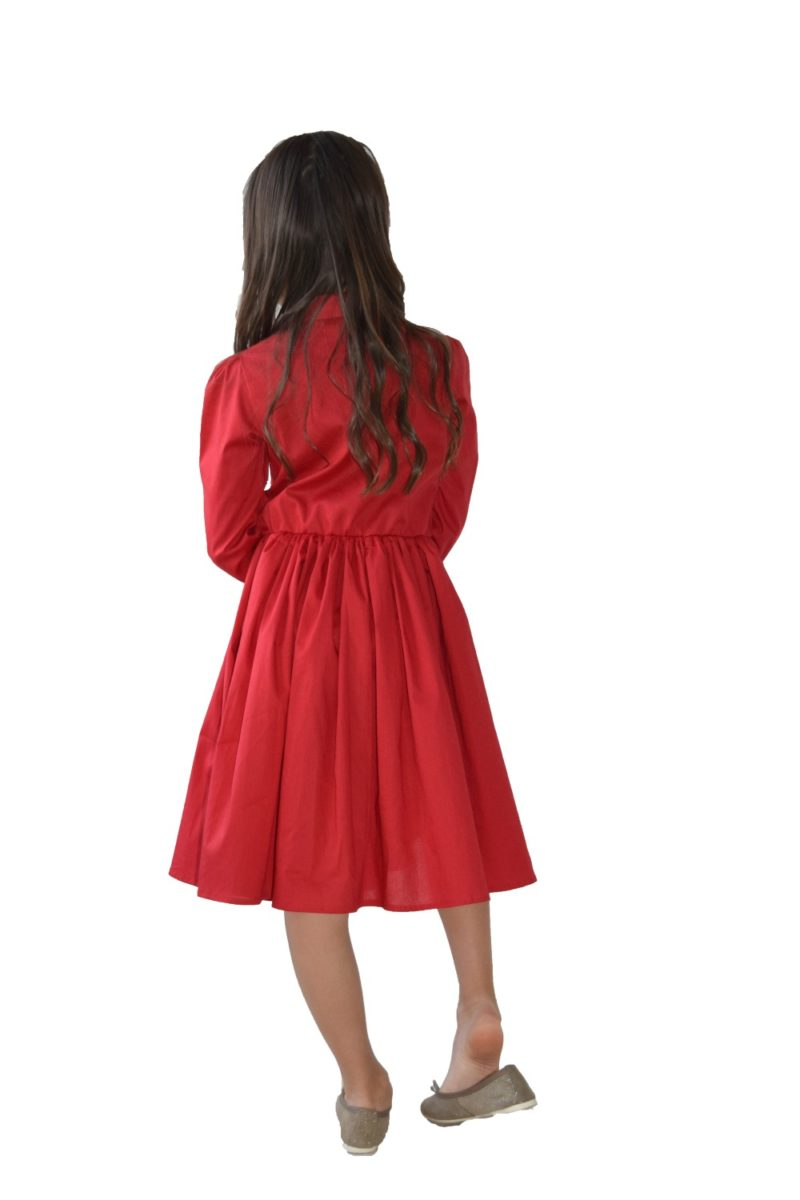Rochie fete roșie Hearts - haine copii Craciun Sarbatori