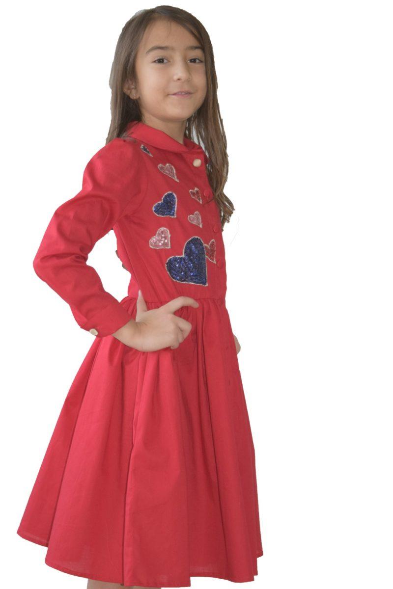 Rochie fete roșie Hearts - haine copii Craciun - haine online copii