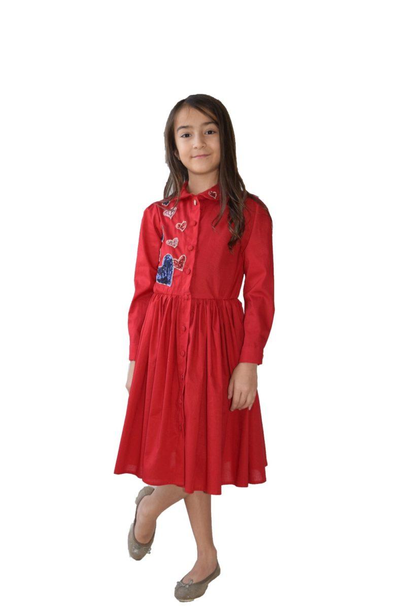 Rochie fete roșie Hearts - haine copii Craciun