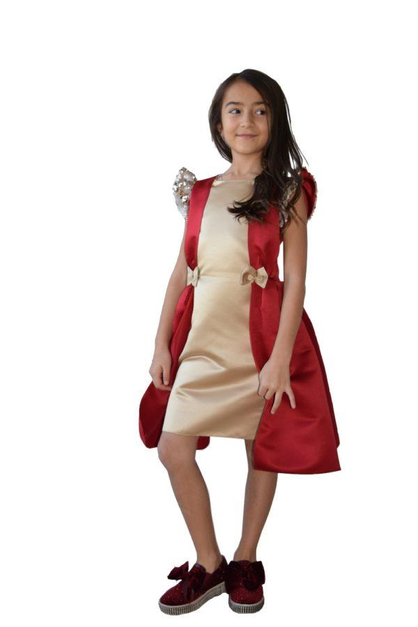 Rochie fete roșie de Crăciun Belle, haine copii Craciun