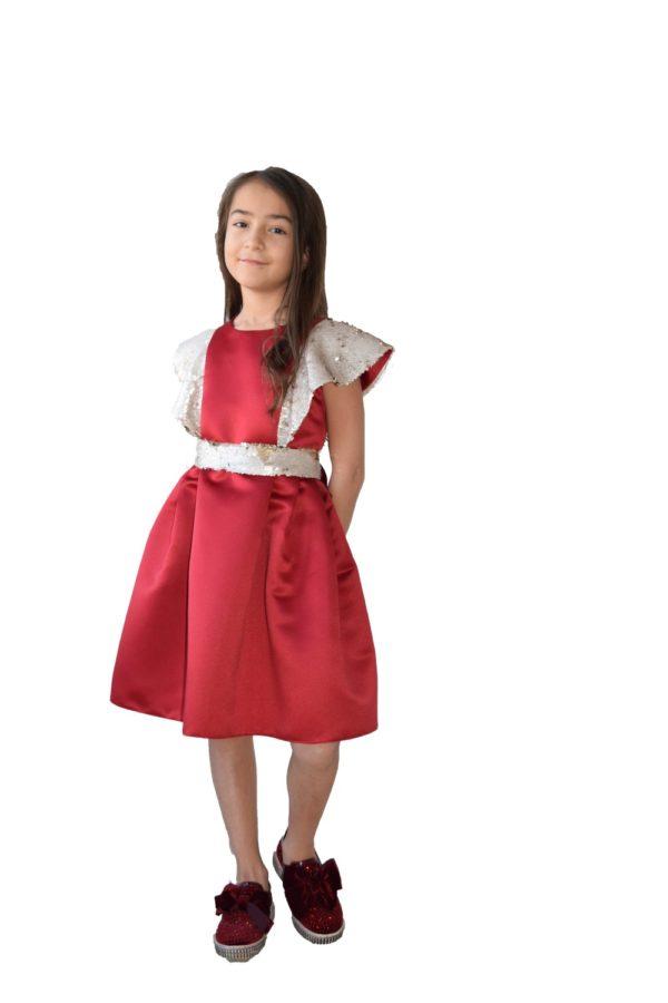 Rochie fete roșie de Crăciun Golden Wings - haine copii Craciun