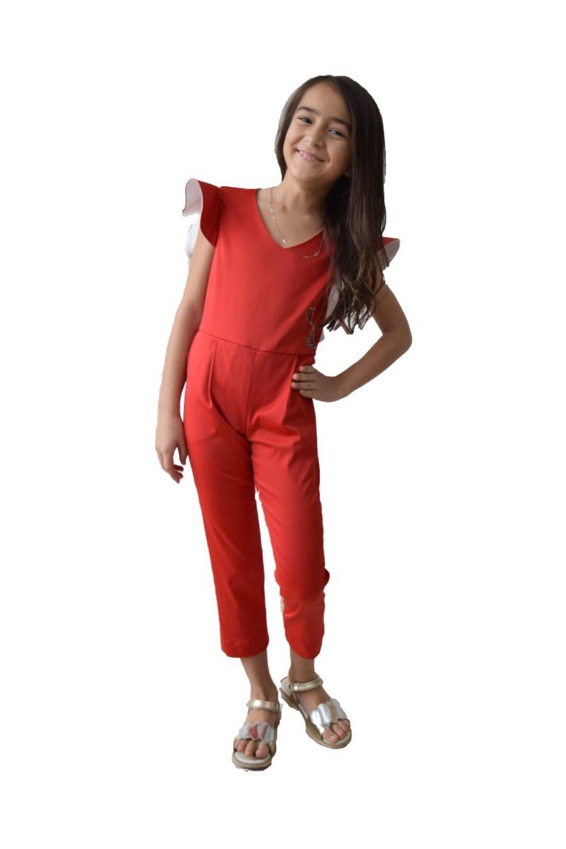 Salopetă fete roșie Wings haine copii Craciun