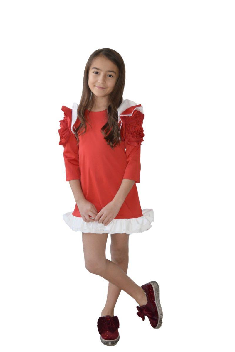 Rochie roșie Christmas Flower - haine copii Craciun - hainute copii